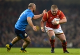 19.03.16 - Wales v Italy - RBS 6 Nations 2016 -Samson Lee of Wales takes on Davide Giazzon of Italy.