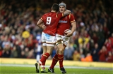 19.03.16 - Wales v Italy - RBS 6 Nations - Jonathan Davies of Wales celebrates scoring a try with Rhys Webb.