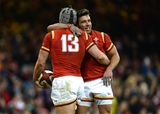 19.03.16 - Wales v Italy - RBS 6 Nations 2016 -Jonathan Davies of Wales celebrates his try with Rhys Webb.