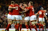 19.03.16 - Wales v Italy - RBS 6 Nations 2016 -George North of Wales celebrates his try with Gareth Anscombe, Taulupe Faletau, Rhys Webb and Ross Moriarty.