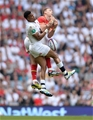 29.05.16 - England v Wales - Old Mutual Wealth Cup -Liam Williams of Wales and Anthony Watson of England compete for high ball.