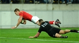 18.06.16 - New Zealand v Wales - Steinlager Series, Second Test -Liam Williams of Wales holds off Israel Dagg of New Zealand to score try.