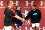 12.11.16 - Wales v Argentina - Under Armour Series -Gethin Jenkins of Wales and Agustin Creevy of Argentina with Referee Angus Gardner during the coin toss.