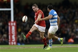 12.11.16 - Wales v Argentina - Under Armour Series - Gethin Jenkins of Wales kicks the ball over Agustin Creevy of Argentina into touch.