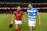 12.11.16 - Wales v Argentina - Under Armour Series -Leigh Halfpenny of Wales and Juan Martin Hernandez of Argentina at the end of the game.