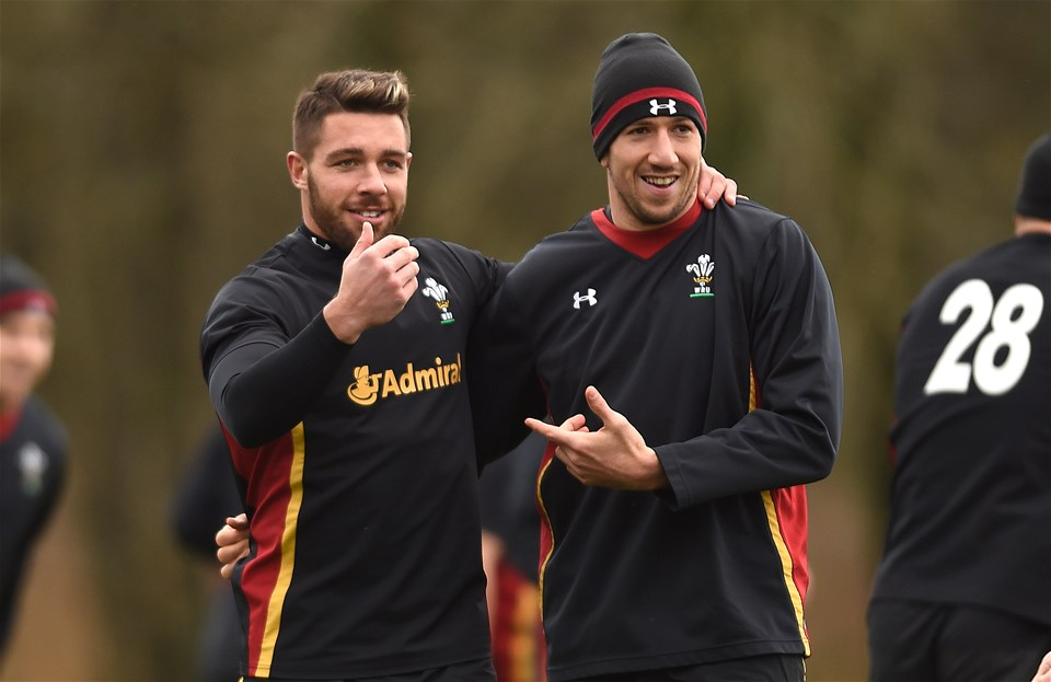 02.02.17 - Wales Rugby Training -Rhys Webb and Justin Tipuric during training.