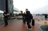 03.02.17 - Wales Rugby Team Travel to Rome -Owen Williams, Justin Tipuric, Rhys Webb and Liam Williams arrives at Cardiff Airport to travel to Rome.