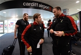 03.02.17 - Wales Rugby Team Travel to Rome -Leigh Halfpenny and Jamie Roberts arrives at Cardiff Airport to travel to Rome.