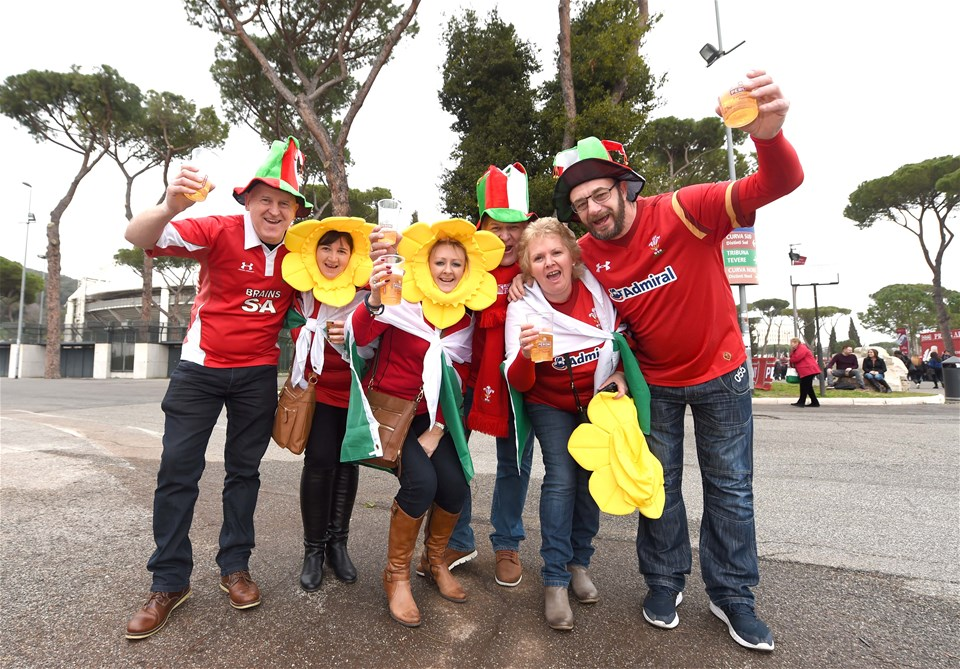 05.02.17 - Italy v Wales - RBS 6 Nations 2017 -Wales fans take in the atmosphere before kick off.
