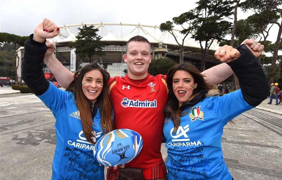 05.02.17 - Italy v Wales - RBS 6 Nations 2017 -Wales and Italy fans take in the atmosphere before kick off.