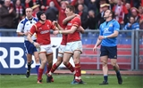 05.02.17 - Italy v Wales - RBS 6 Nations 2017 -Liam Williams of Wales celebrates his try with Rhys Webb and Sam Davies.