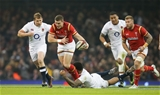 11.02.17 - Wales v England, RBS 6 Nations - Scott Williams of Wales is tackled by Courtney Lawes of England