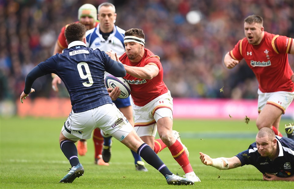25.02.17 - Scotland v Wales - RBS 6 Nations 2017 -Rhys Webb of Wales takes on Ali Price of Scotland.