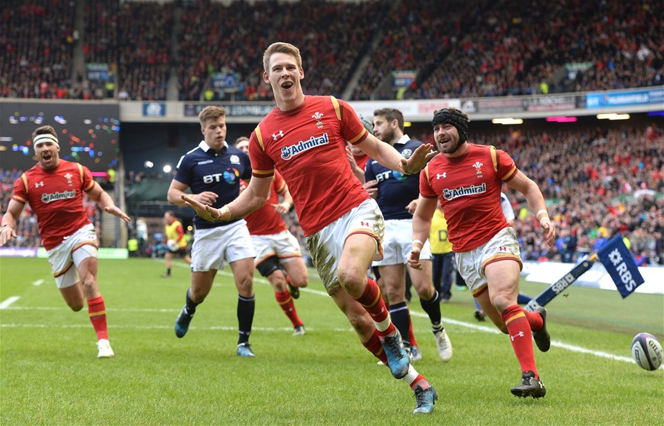 25.02.17 - Scotland v Wales - RBS 6 Nations 2017 -Liam Williams of Wales celebrates scoring try.