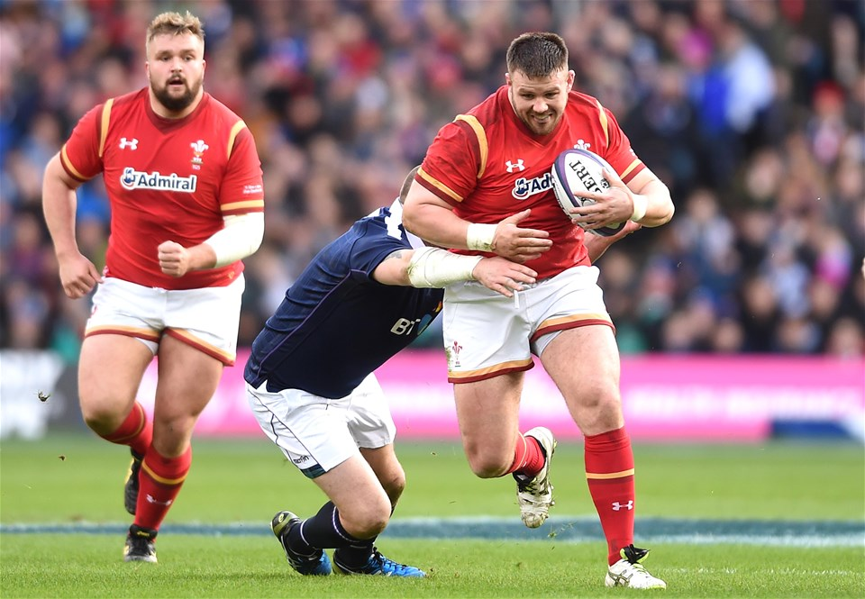 25.02.17 - Scotland v Wales - RBS 6 Nations 2017 -Rob Evans of Wales is tackled by Gordon Reid of Scotland.
