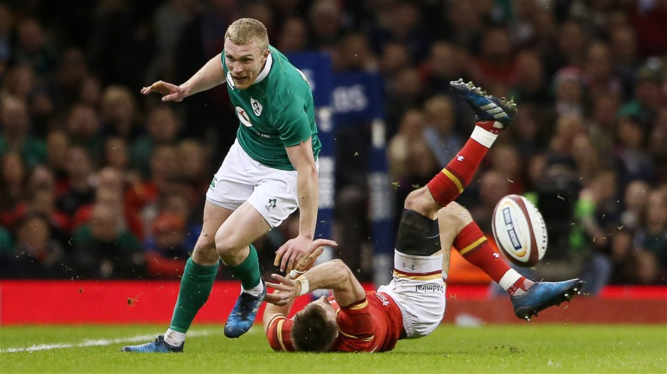 10.03.17 - Wales v Ireland - RBS 6 Nations Championship - Keith Earls of Ireland is tackled by Liam Williams of Wales.