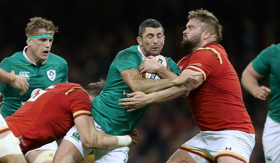 10.03.17 - Wales v Ireland - RBS 6 Nations Championship - Rob Kearney of Ireland is tackled by Alun Wyn Jones and Tomas Francis of Wales.