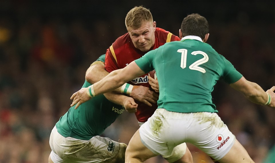 10.03.17 - Wales v Ireland, 2017 RBS 6 Nations Championship -  Ross Moriarty of Wales takes on Jamie Heaslip of Ireland  and Robbie Henshaw of Ireland